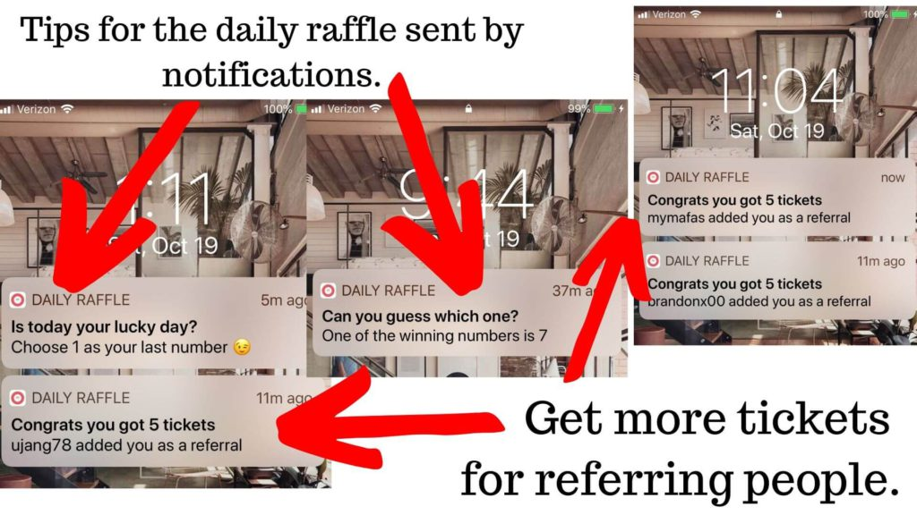 Daily raffle notifications