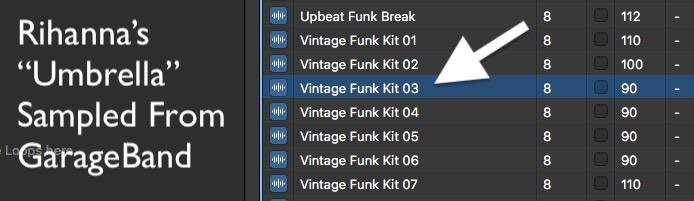 Rihanna's Umbrella vintage funk garage band sample